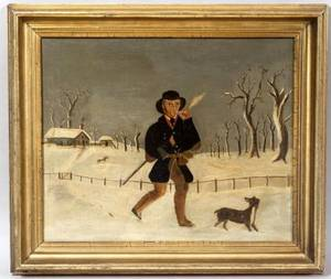American School 19th Century Primitive Winter Landscape with a Man Smoking a Clay Pipe