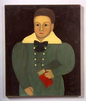 American School 19th Century Portrait of a Boy Holding a Red Book