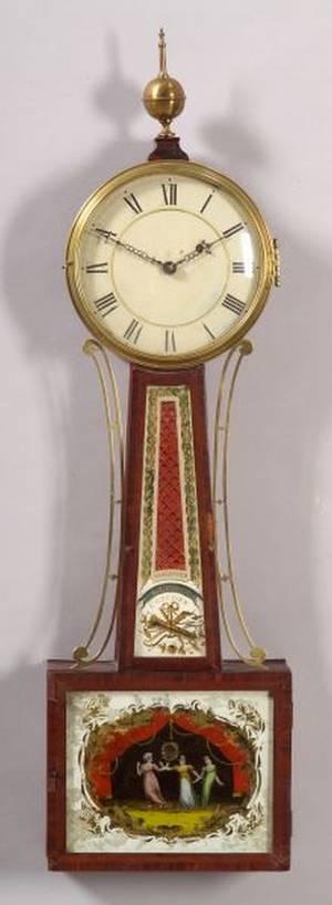 Federal Mahogany Inlaid Banjo Timepiece