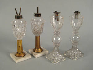 Two pressed colorless glass fluid lamps ca 1830