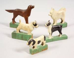 Five Folk Art Carved and Painted Wooden Dog Figures