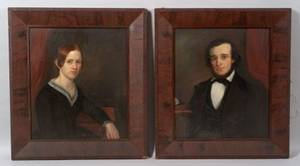 American School 19th Century Pair of Portraits of a Young Man and Woman