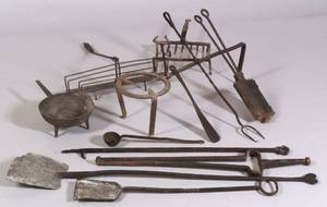 Twelve Early Wrought Iron Hearth Utensils