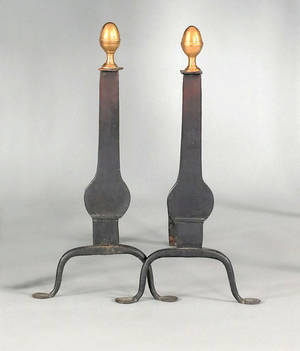Pair of wrought iron and brass knife blade andirons ca 1780