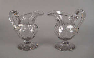 Pair of large Sweeney type blown glass pitchers ca 1830