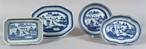 Four Blue and White Canton Porcelain Serving Dishes