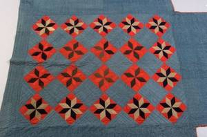 Wool and Linen Bedcover with Pieced and Quilted EightPoint Stars