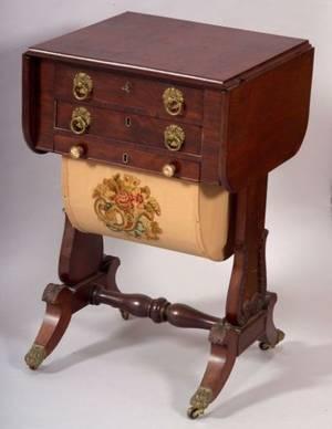Classical Mahogany Carved and Mahogany Veneer Sewing Stand