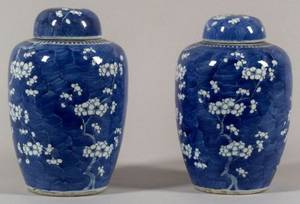 Pair of Blue and White Chinese Export Porcelain Ginger Jars