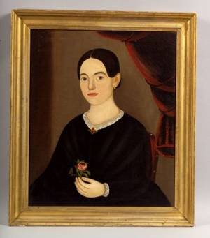 Attributed to William W Kennedy American 18171871 Portrait of a Young Woman Holding a Red Rose