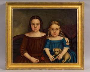 American School 19th Century Portrait of Two Sisters with Their Puppy