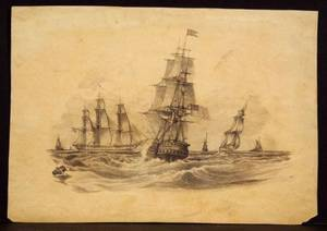 Attributed to Henry Schreiner Stellwagen American d 1866 Six Watercolor and Pencil Sketches