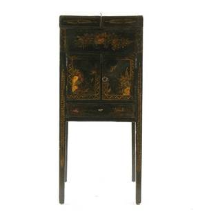 English Black Lacquered Chinoiserie Wash Stand