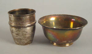 Philadelphia silver bowl and cup ca 1830