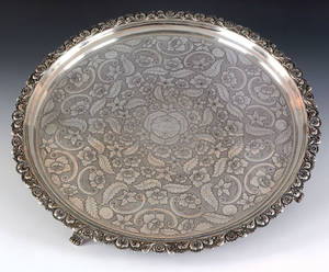 New York silver footed tray early 19th c