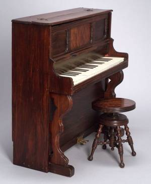 Large Schoenhut Upright Toy Piano and Stool