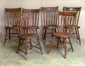 Set of six painted plank bottom chairs