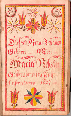 Bucks County Pennsylvania watercolor fraktur bookplate dated 1827 for Maria Nehs