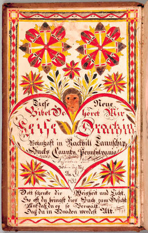 Rockhill Township Bucks County Pennsylvania watercolor fraktur bookplate dated 1832