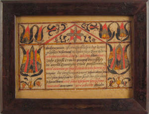 Berks County Pennsylvania ink and watercolor fraktur dated 1789 for Abraham Braun