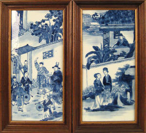 Pair of Chinese export porcelain blue and white plaques ca 1900