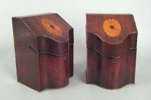 Pair of George III mahogany knife boxes ca 1780