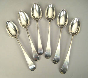 Six Philadelphia silver tablespoons 18th c