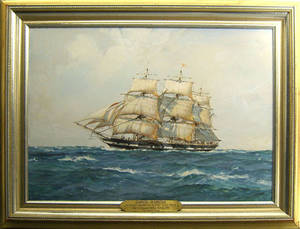 Hugh Knollys oil on board ship portrait of the Daniel Webster