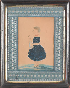 Watercolor folk portrait of a young girl with doll 19th c