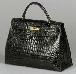 Ladys Black Crocodile Leather Handbag