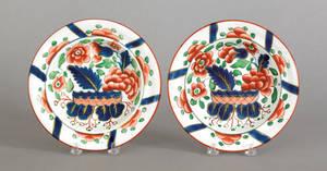 Two Gaudy Dutch war bonnet soup bowls 19th c