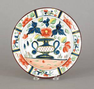 Gaudy Dutch urn plate 19th c