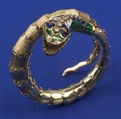 14kt Gold and Gemset Snake Bracelet