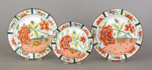 Three Gaudy Dutch oyster plates 19th c