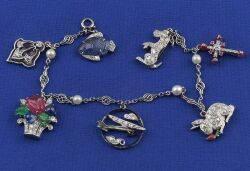 Art Deco Platinum Diamond and GemSet Charm Bracelet