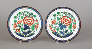 Two Gaudy Dutch carnation plates 19th c