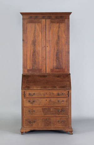 Maryland Chippendale walnut two part secretary desk late 18th c