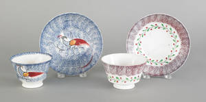 Blue spatter peafowl cup and saucer 19th c