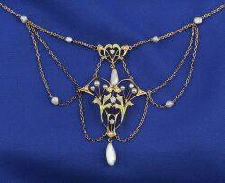Art Nouveau 14kt Gold Pearl and Diamond Necklace
