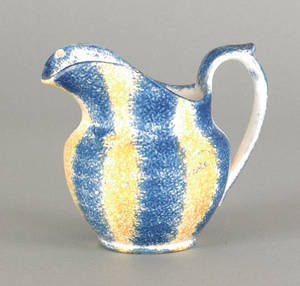 Yellow and blue rainbow spatter creamer 19th c