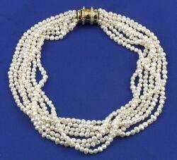 18kt Gold Pearl and Diamond Necklace