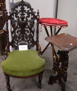 Renaissance Revival Carved Walnut Slipper Chair a Walnut Mirror and Two Victorian Stands