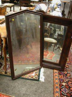 Late Victorian Walnut Framed Mirror and a Mahogany Veneer Ogee Mirror