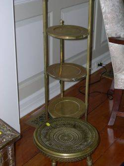 Two Brass Muffineers Brass Stool a Pair of Brass Balltop Andirons Hearth Tools in Stand