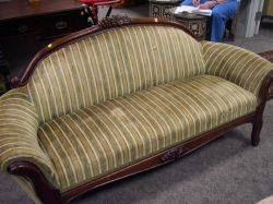 Victorian Upholstered Carved Walnut Settee