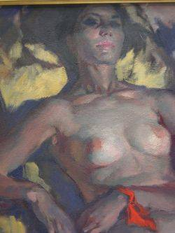 American School 20th Century Reclining Female Nude Oil on Canvas