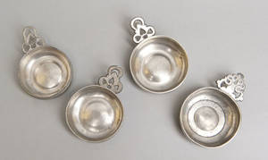 Four small American pewter porringers early 19th c