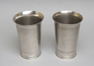 Pair of New England pewter beakers attributed to Oliver Trask ca 1830