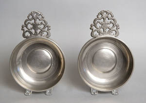 Pair of New England pewter porringers ca 1800