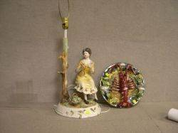 Palisseystyle Majolica Lobster Plaque and a Continental Faience Figural Table Lamp